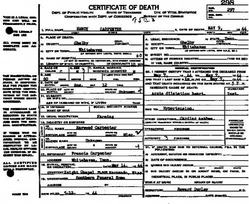 Handy Carpenter Sr. (Death Certificate)
