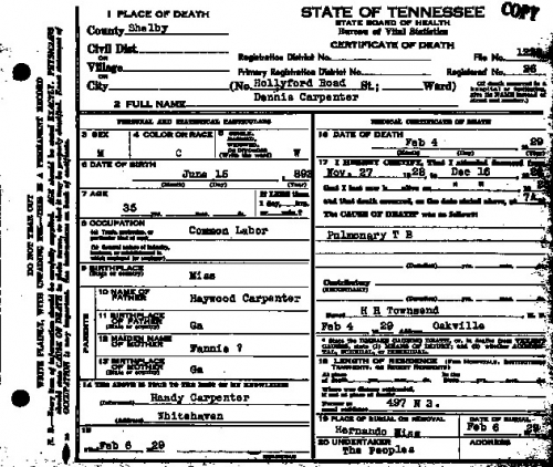 Dennis Carpenter (Death Certificate)