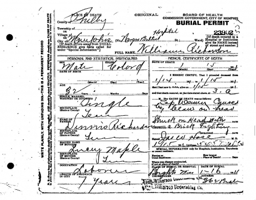 William (Bud) Richardson (1876-1911) (Death Certificate)